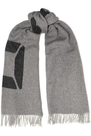 RAG & BONE Classic fringed brushed wool-jacquard scarf