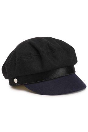 RAG & BONE Button-embellished calf hair-trimmed felt cap