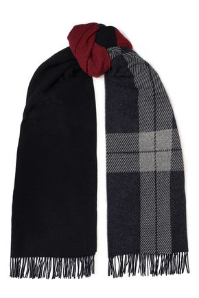 RAG & BONE Fringed brushed wool-blend jacquard scarf
