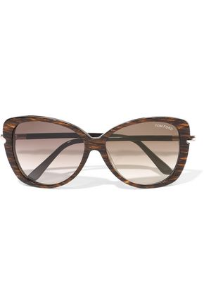 TOM FORD Linda butterfly-frame printed acetate and gold-tone sunglasses