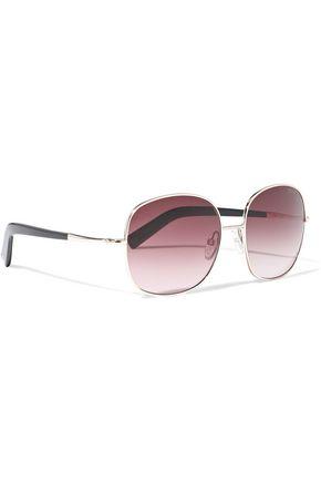 TOM FORD Georgina square-frame rose gold-tone mirrored sunglasses