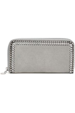 STELLA McCARTNEY Chain-trimmed faux suede continental wallet