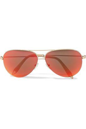 VICTORIA BECKHAM Classic Victoria aviator-style gold-tone mirrored sunglasses