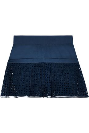 L'ETOILE SPORT Pleated open-knit and stretch tennis skirt