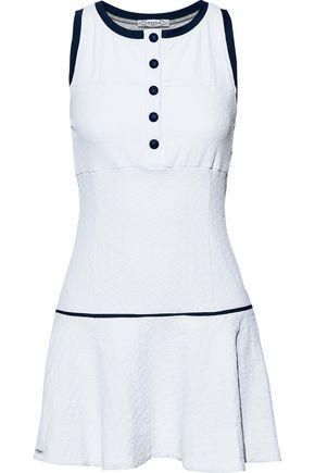 L'ETOILE SPORT Open knit-paneled stretch-cloqué tennis dress