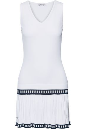 L'ETOILE SPORT Pleated jacquard-trimmed stretch-knit tennis dress
