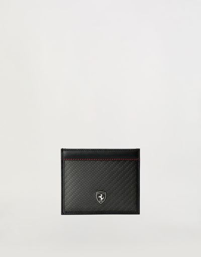 Evo credit card holder in leather and carbon fibre