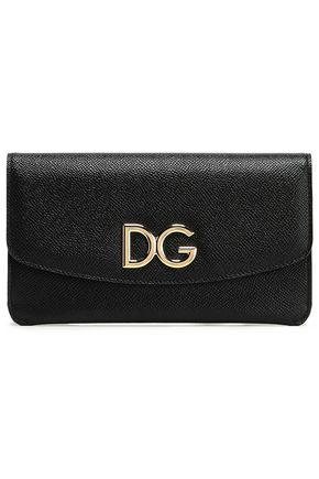 DOLCE & GABBANA Logo-embellished pebbled-leather continental wallet