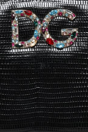 DOLCE & GABBANA Embellished lizard-effect leather wallet