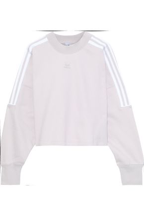 ADIDAS ORIGINALS Cropped striped embossed cotton-blend fleece sweatshirt