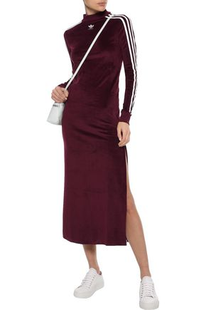 Adidas Originals Dresses ADIDAS ORIGINALS WOMAN TREFOIL STRIPED VELOUR MAXI DRESS GRAPE