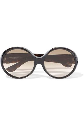 SAINT LAURENT Round-frame tortoiseshell acetate sunglasses