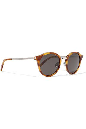 SAINT LAURENT Round-frame tortoiseshell acetate and silver-tone sunglasses