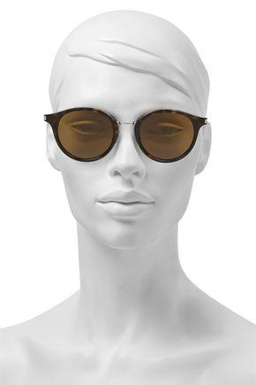 Saint Laurent Woman Round-Frame Tortoiseshell Acetate And Silver-Tone Sunglasses Brown