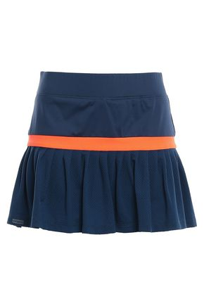 L'ETOILE SPORT Pleated pointelle-knit and stretch tennis skirt