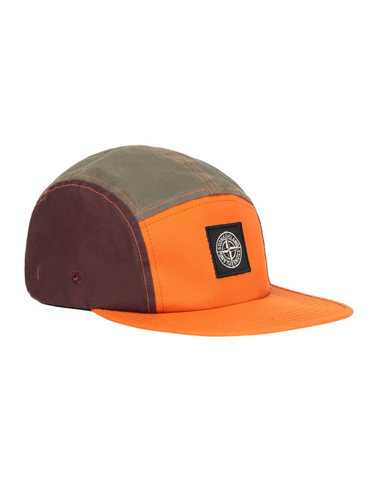 STONE ISLAND 99077 TELA PLACCATA BICOLORE Cap Man Orange