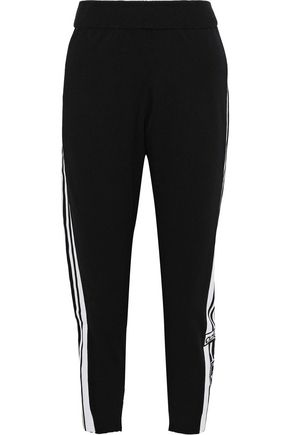 ADIDAS ORIGINALS Cropped striped jersey track pants