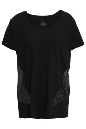 LUCAS HUGH Mesh-paneled stretch modal and cotton-blend T-shirt