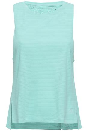 ADIDAS Cutout textured tech-jersey tank
