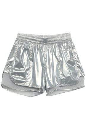 ADIDAS BY STELLA MCCARTNEY | Adidas By Stella Mccartney Layered Metallic Shell And Mesh Shorts | Goxip