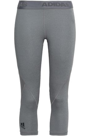ADIDAS Cropped mesh-paneled stretch leggings
