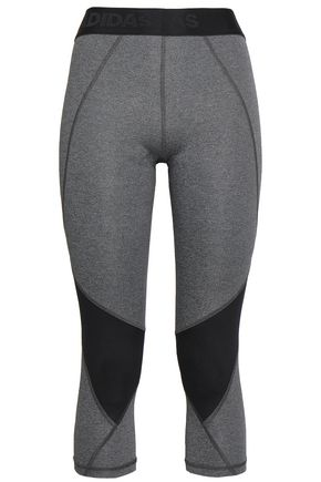 ADIDAS Cropped two-tone stretch leggings
