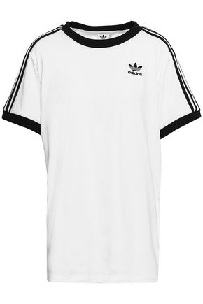 ADIDAS ORIGINALS | Adidas Originals Grosgrain-Trimmed Embroidered Cotton-Jersey T-Shirt | Goxip