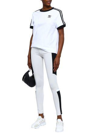 Adidas Originals T-shirts ADIDAS ORIGINALS WOMAN STRIPED COTTON-JERSEY T-SHIRT WHITE