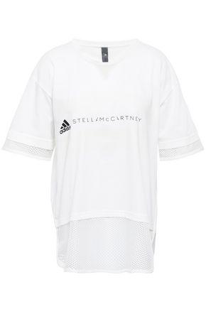 ADIDAS by STELLA McCARTNEY Mesh-paneled printed cotton-blend T-shirt