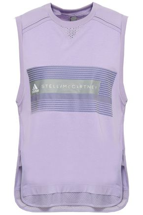 ADIDAS BY STELLA MCCARTNEY | Adidas By Stella Mccartney Printed Cotton-Blend Jersey And Mesh Tank | Goxip