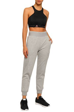 ADIDAS by STELLA McCARTNEY Mélange French cotton-blend terry track pants