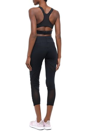 Mesh trimmed perforated tech jersey sports bra | ADIDAS by