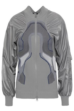 ADIDAS by STELLA McCARTNEY Ruched shell and jacquard-knit jacket