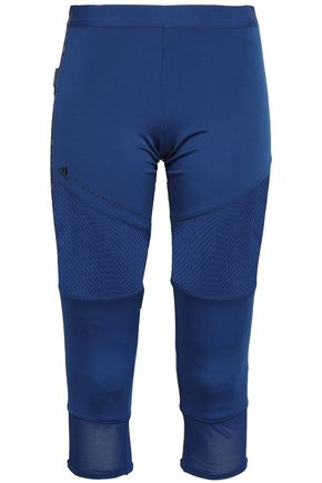 ADIDAS by STELLA McCARTNEY Cropped mesh-paneled stretch leggings
