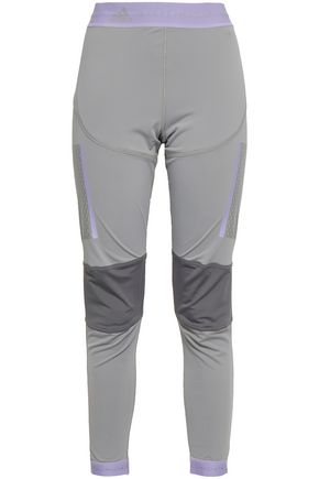 ADIDAS BY STELLA MCCARTNEY | Adidas By Stella Mccartney Mesh-Paneled Color-Block Stretch Leggings | Goxip