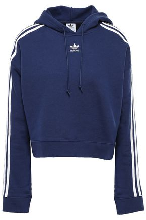 ADIDAS ORIGINALS Cropped striped French cotton-terry hooded sweatshirt