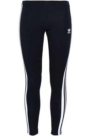 ADIDAS ORIGINALS Striped cotton-blend jersey leggings