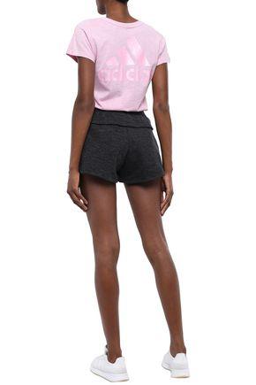 ADIDAS Mélange cotton-blend jersey shorts