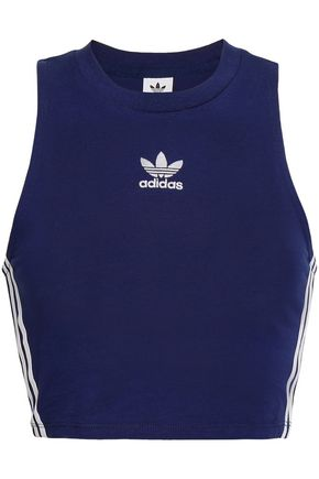ADIDAS ORIGINALS Cropped striped cotton-blend jersey top