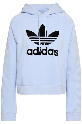 ADIDAS ORIGINALS Flocked French cotton-terry hooded sweatshirt