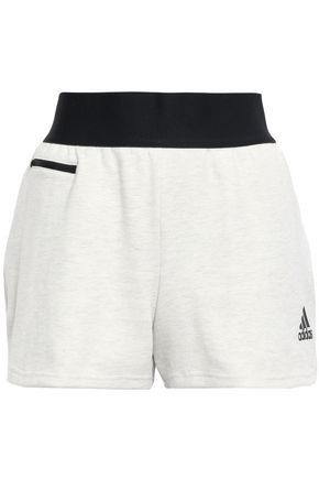 ADIDAS Mélange cotton-blend jersey shorts