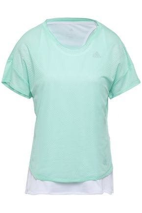 ADIDAS Layered jersey and mesh T-shirt