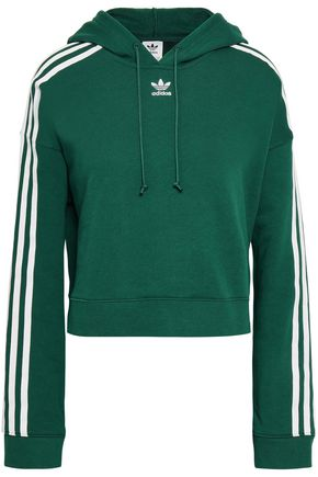 ADIDAS ORIGINALS Grosgrain-trimmed French cotton-terry hoodie
