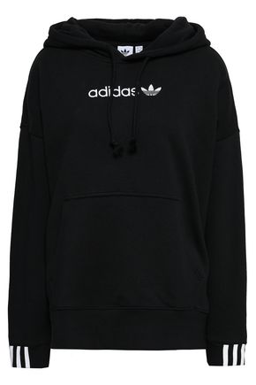 ADIDAS ORIGINALS Embroidered cotton-blend fleece hoodie