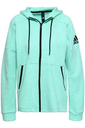 ADIDAS Mélange cotton-blend jersey hooded sweatshirt