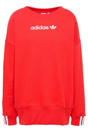 ADIDAS ORIGINALS Embroidered cotton-blend fleece sweatshirt