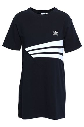 ADIDAS ORIGINALS Embroidered striped stretch-cotton jersey T-shirt