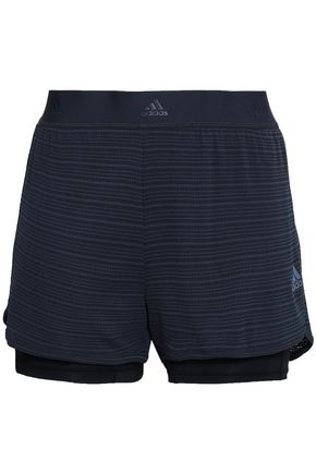 ADIDAS Layered striped stretch shorts