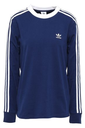 ADIDAS ORIGINALS Embroidered striped cotton-blend jersey top