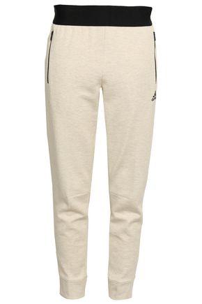 ADIDAS Mélange cotton-blend jersey track pants